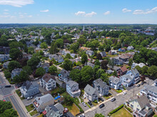 Aerial View Of Historic Residence Building In Historic City Of Beverly, Massachusetts MA, USA.
