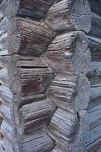 Fragment Corner Of An Old Wooden Log Cabin