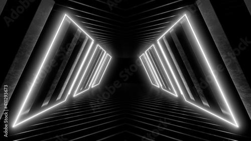 Obraz na plátne A dark corridor lit by white neon lights