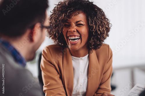 Obraz Happy african american woman laughing - fototapety do salonu