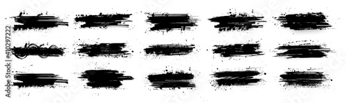 Obraz Black ink splashes with mud effect. Drops blots isolated set with inked splatter. Dirt stain splatter with spray and splash effect. High quality manually traced. Background texture. Vector collection - fototapety do salonu