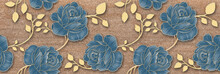Flower Tile Wall Decor, Digital Wall Tile Design, Blue Flower And Golden Leaf Decor On Marble For Home Decoration, Illustration Can Be Used For Wallpaper, Linoleum, Textile, Web Page Background.