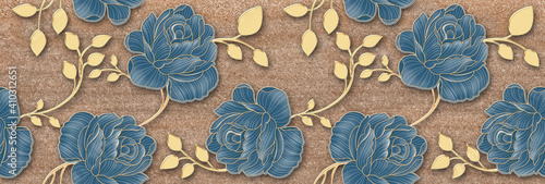 Carta da parati Flower tile wall Decor, Digital Wall Tile Design, Blue flower and golden leaf Decor on Marble For Home Decoration, Illustration can be used for wallpaper, linoleum, textile, web page background