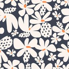 Vector Simple Shape Scandinavian Flower Motif Seamless Repeat Pattern Navy Background