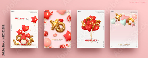 Obraz Valentines day. Romantic set vector backgrounds. Templates Festive gift card with realistic 3d design elements. Holiday banners, web poster, flyers and brochures, greeting cards, group bright covers - fototapety do salonu