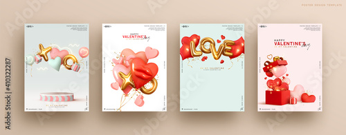 Obraz Valentines day. Romantic set vector backgrounds. Festive gift card templates with realistic 3d design elements. Holiday banners, web poster, flyers and brochures, greeting cards, group bright covers - fototapety do salonu