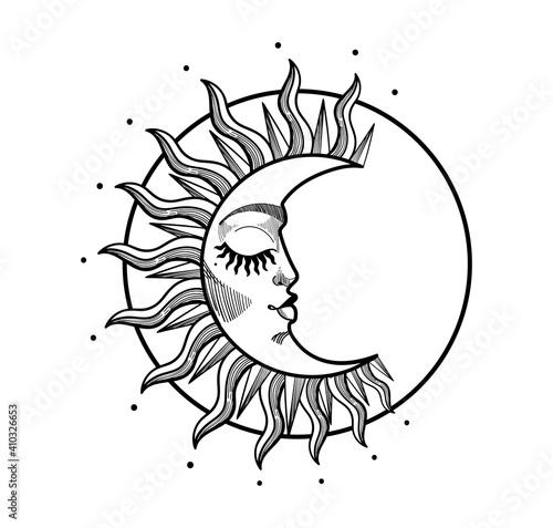Fotografiet Boho illustration, stylized vintage design, sleeping crescent moon with face, stylized abstract illustration