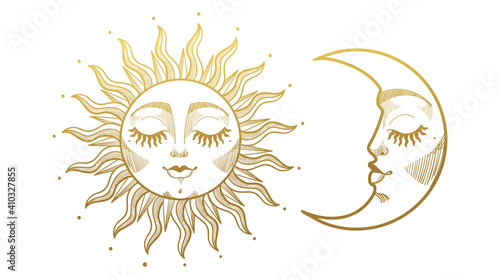 Obraz Set of beautiful golden mystical elements in boho style, sun and crescent moon with face. Design elements, tattoos, stickers. Linear vector illustration isolated on white background. - fototapety do salonu