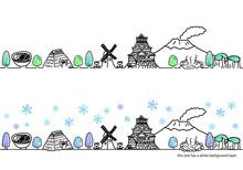 シンプル手書きの冬の九州の街並み線画セット