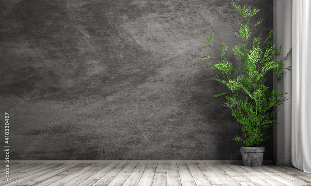 Fototapeta Interior background of room with black stucco wall and pot with plant 3d rendering