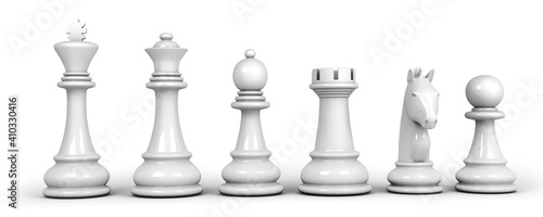 Fényképezés Set of white chess pieces isolated on white background