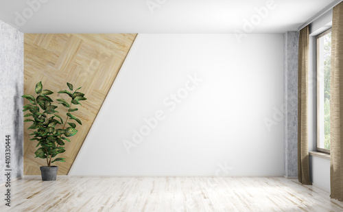 Obraz Interior background of empty room with white wall and and potted plant 3d rendering - fototapety do salonu