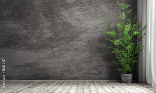 Interior background of room with black stucco wall and pot with plant 3d rendering