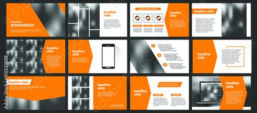 Fototapeta Modern powerpoint presentation templates set. Use for modern keynote presentation background, brochure design, website slider, landing page, annual report, company profile, facebook banner. obraz