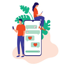 Dating Couples Using Smartphone To Send Text Messages To Each Other. Online Dating And Social Network Concept. Vector Illustration Flat Cartoon. Single Man Chatting Online With A Woman.