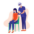 Nurse In Protective Face Shield And Mask Injecting Covid-19 Vaccine Into The Woman Upper Arm. Coronavirus Vaccination Concept. Vector Illustration Flat Cartoon. Patient Receives Covid-19 Vaccine.
