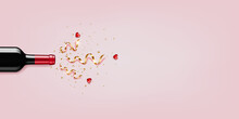 Red Wine Bottle With Gold Ribbons And Hearts, Isolated  On Pink Background.