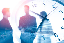 Business Times Or Working Hours Concept Blur Office People Talking Overlay With Time Clock