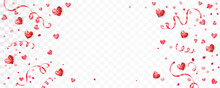 Valentine's Day Background With Red Hearts. Confetti And Ribbons Frame, Border. Glitter Holiday Decoration Isolated On White. For Wedding And Mother's Day Banners, Party Posters. Vector.