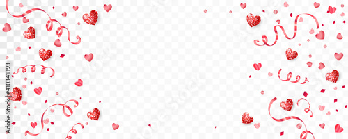 Fotografering Valentine's day background with red hearts