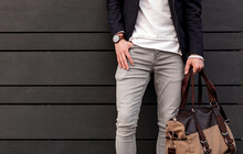 Stylish Man With Bag And Wristwatch