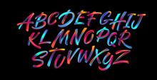 Full Color Handwriting Paint Brush Lettering Latin Alphabet Letters. Vector Illustration