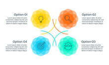 Infographic Concept With 4 Steps, Part Or Options. Business Layout Template With Four Abstract Circles. Presentation, Process, Timeline Info Graphic Design Elements. Vector Illustration.