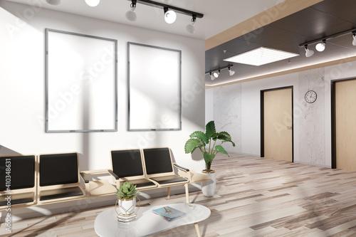 Obraz Two vertical frames Mockup hanging in office waiting room. Mock up of billboards in modern concrete interior 3D rendering - fototapety do salonu