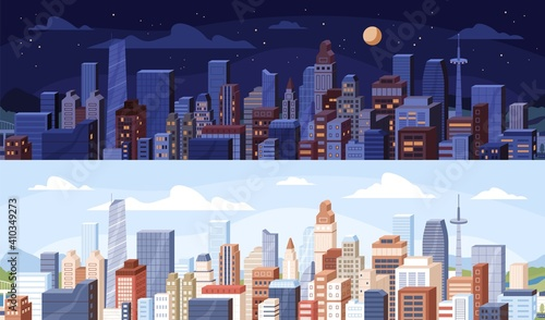 Obraz Cityscape at day and night time. City panoramic view with roofs of skyscrapers buildings at midday and midnight. Colored flat vector illustration of daytime and nighttime in modern downtown - fototapety do salonu