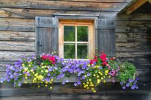 Fenster Mit Blumen An Einer Almhütte In Österreich