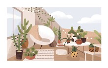 Lounge Terrace Or Balcony Garden With Plants And Furniture. Modern Eco-style Interior Decorated With Greenery, Potted Cactuses, Cozy Chair And Bulbs. Colored Flat Textured Vector Illustration