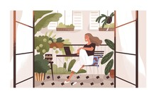 Woman Working Or Relaxing With Laptop At Home Balcony Garden With Furniture And Potted Plants. Modern Trendy Eco-style Interior With Greenery. Colored Flat Textured Vector Illustration