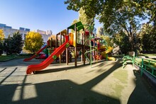 Childhood Playground Park, Fun Recreation. Color Colorful