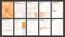 Vector Planner Pages Templates. Daily, Weekly, Monthly, Project, Budjet And Meal Planners. Peach Orange Shade Floral Design.