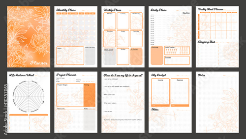 Obraz Vector planner pages templates. Daily, weekly, monthly, project, budjet and meal planners. Peach orange shade floral design. - fototapety do salonu