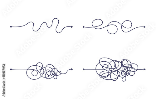 Obraz Complex and easy simple way from start to end vector illustration set. Chaos simplifying, problem solving and business solution searching challenge concept. Hand drawn doodle scribble chaos path lines - fototapety do salonu