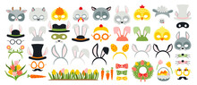 Cute Easter Photo Booth Props As Set Of Party Graphic Elements Of Easter Bunny Costume As Mask, Ears, Eggs, Carrot Etc. Vector Illustration. Vector Illustration