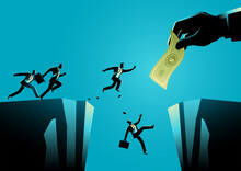 Businessmen Trying To Reach The Money Hold By Giant Hand Separated By A Ravine
