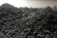 Heap Of Black Coal, Closeup View. Mineral Deposits