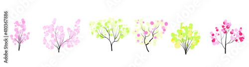 Fototapeta vector set of spring trees without leaves flat style Nature icon collection, infographic constructor