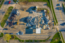 Aerial View Of Demolition Center With A Crane Operating In Naperville Near Chicago, Illinois, United States Of America.