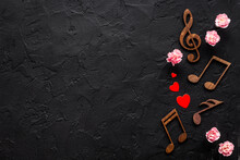 Love Songs. Valentines Day Music With Notes And Flowers