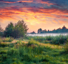 Mystical Summer Scenery. Wonderful Summer Sunset On Ukrainian Countryside. Superb Evening Scene Of Shatsky National Park, Krymne Lake Location, Volyn Region, Ukraine.