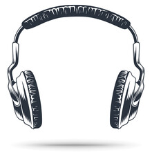 Headphones For Music. Gaming Headphones Or Headset. Hand Drawing. Vintage Style. Isolated On A White Background.
