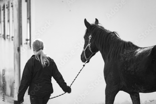 Black and white photo of horse and equestrian