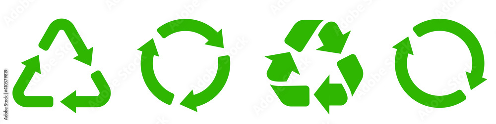 Fototapeta Recycle icon collection. Set recycle signs. Recycle recycling symbol.