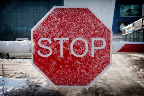Fotografie, Obraz Stop sign covered with snow.