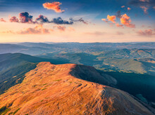 Aerial Landscape Photography. Sunny Summer View From Flying Drone Of Menchul Mountain Range. Attractive Afternoon Scene Of Carpathian Mountains, Ukraine, Europe. Beautiful Autumn Scenery.