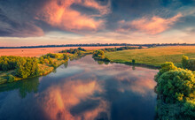 Beautiful Summer Scenery. Beautiful Morning Scene Of Small Pond In The Outskirts Of Ternopil Town, West Ukraine, Europe. Amazing Summer Suset In Ukrainian Countryside.
