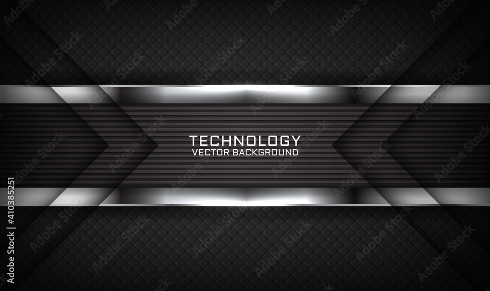 Fototapeta Abstract 3D black techno background overlap layers on dark space with white light effect decoration. Modern graphic design template elements for flyer, card, cover, brochure, or landing page